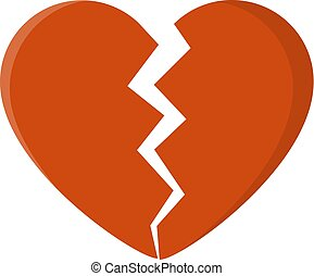broken heart isolated on white background