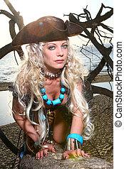 beau, blonds, femme, pirate, image