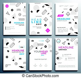 Presentation booklet covers - vector template pages set -...