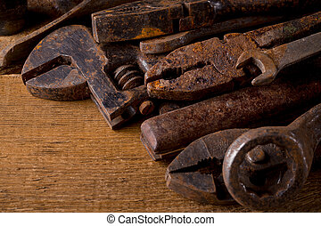 Old rusty tools - Dirty set of hand old rusty tools on a...