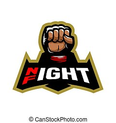 Vector mma - Night fight. Fighting logo design. Vector...
