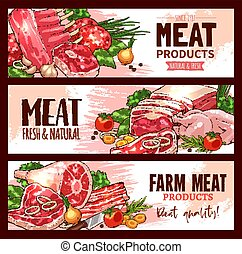 Vector meat product banners for butchery shop - Butchery...