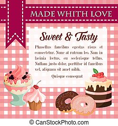 Bakery vector desserts and pastry cakes poster - Dessert...