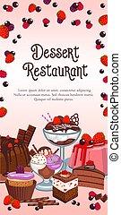 Bakery dessert vector banner for restaurant - Dessert...