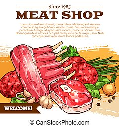 Vector poster for butchery shop meat products - Meat shop...