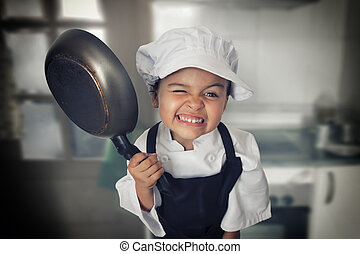 Four years chef girl - Portrait of a funny four years girl...