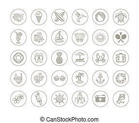 Summer vacation icon set - Line drawing vector icons -...