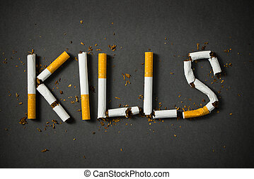 Smoking kills concept - The word kills made up with...