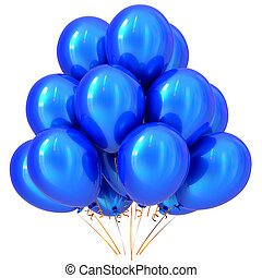 Blue party balloons happy birthday carnival decoration cyan