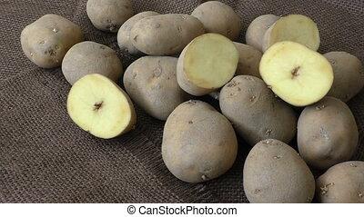 Old potatoes on jute sack