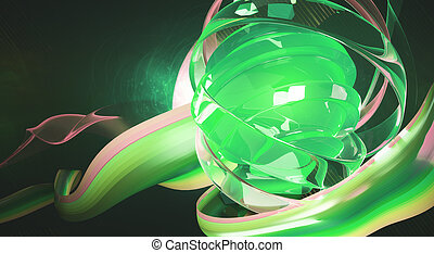 Green digital art - Creative digital art. Bright green...