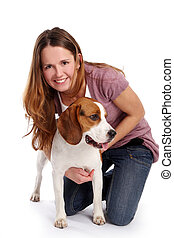 young and beautidul woman with pets - young and beautidul...