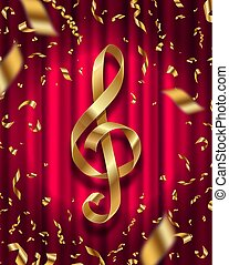 Treble clef golden sign