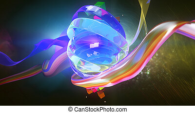 Blue digital art - Creative digital art. Bright blue object...