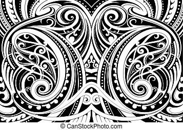 Maori ethnic ornament - Maori style ethnic ornament. Good...