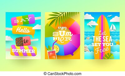 Set of summer holidays and tropical vacation posters or...