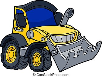 Cartoon Bulldozer Digger