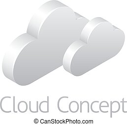 Clouds Weather Icon Concept - A 3d isometric clouds weather...