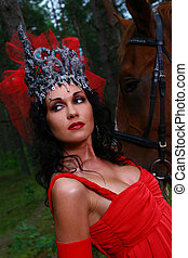 beautiful woman with brown horse