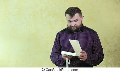 Man gets a gift box with a butterfly