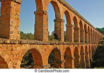 roman aqueduct in Tarragona, Spain - view of the roman...