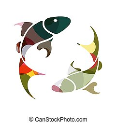 Pisces zodiac Sign, vector illustration