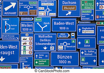 Swiss Road Signs - Photographed at the Swiss Museum of...