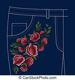 Jeans Folks Floral Embroidery Pattern - Lady jeans pants...