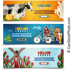 Holland Travel Horizontal Banners Set
