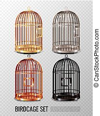 Canary Birdcage 3D Set - Set of empty closed canary birdcage...