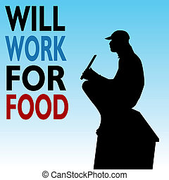 Will Work For Food Homeless Man - An image of a homeless man...