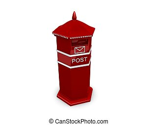 Post box - 3d rendering, Red post box isolated over white...