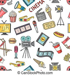 Cinema collection set. Vector seamless pattern of cinematography elements