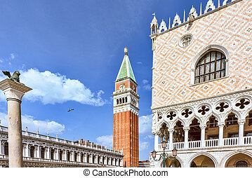 San Marco Square in Venice, Italy. Campanile The Tower of...