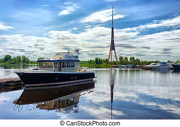 The yacht is berthed in Riga - Motor yacht berthed on the...