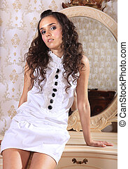 curly brunette - beautiful and sexy brunette curly girl near...