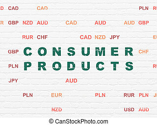 Finance concept: Consumer Products on wall background