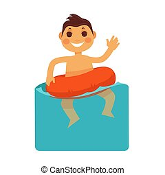 Cheerful boy in blue water with life buoy - Cheerful young...