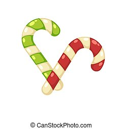 Christmas tasty sweet striped cane lollypops isolated...
