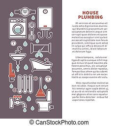 House plumbing vector poster or infographics template for...