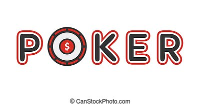 Poker logotype with gambling table instead of letter o...