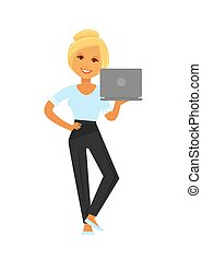 Smiling businesswoman stands with laptop full length...