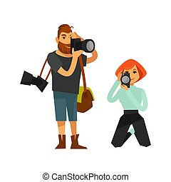 Photographer man and woman journalist or paparazzi with...