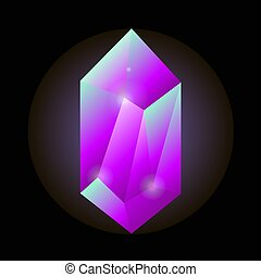 Crystal gemstone or precious gem stone vector icon