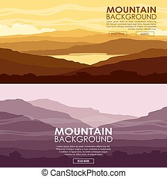 Set of Mountain landscapes. Yellow and purple mountain...