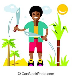 Vector Man with machete. Flat style colorful Cartoon illustration.