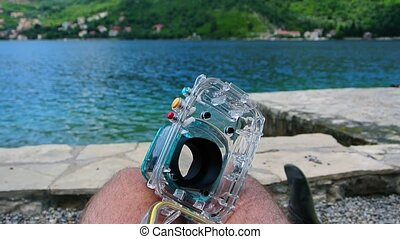 Underwater box for a camera on the beach. Kotor Bay,...