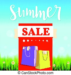 Summer sale banner. Vintage style text poster with graphic elements, blue summer sky, green, lush grass, daisies and ladybugs. Template, mock-up online shopping, advertising actions, magazines and other.