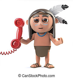 3d Funny cartoon Native American Indian character answers...
