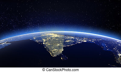 India. Elements of this image furnished by NASA - India. 3D...